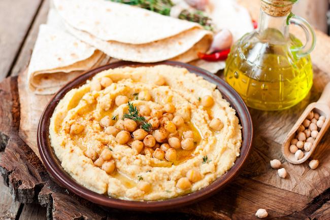 homemade hummus with chickpeas