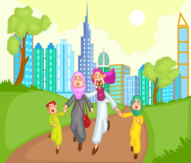 Muslim family running with kid in vector