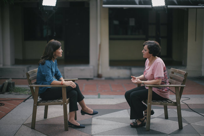 Prof. Sahar Amer talks to Lin Xueling from Channel News Asia. photo courtesy of Channel News Asia. Photographer: Kim Wong