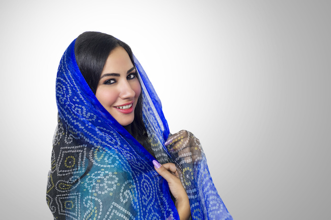 Muslim woman with headscarf in fashion concept in seattle