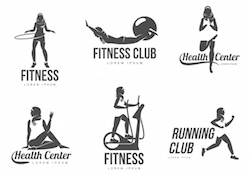 Muslim aerobic logo. Muslim woman fitness, aerobic and workout exercise in gym. Vector set of gym icons in flat style isolated on white background. People in gym.