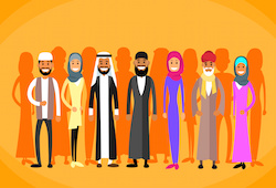 Muslim People Crown Man and Woman Traditional Clothes Arabic Indian Characters Flat Vector Illustration