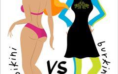 Bikini vs burkini. Beach battle. Two girls in swimsuits. Illustration of european and Muslim fashion.