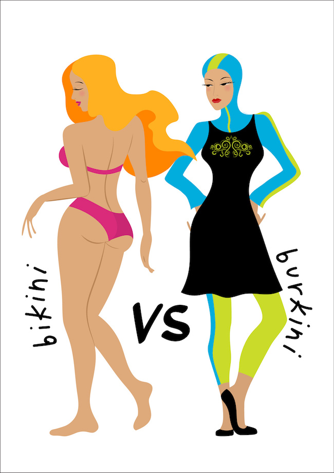 Bikini vs burkini. Beach battle. Two girls in swimsuits. Illustration of european and Muslim fashion.