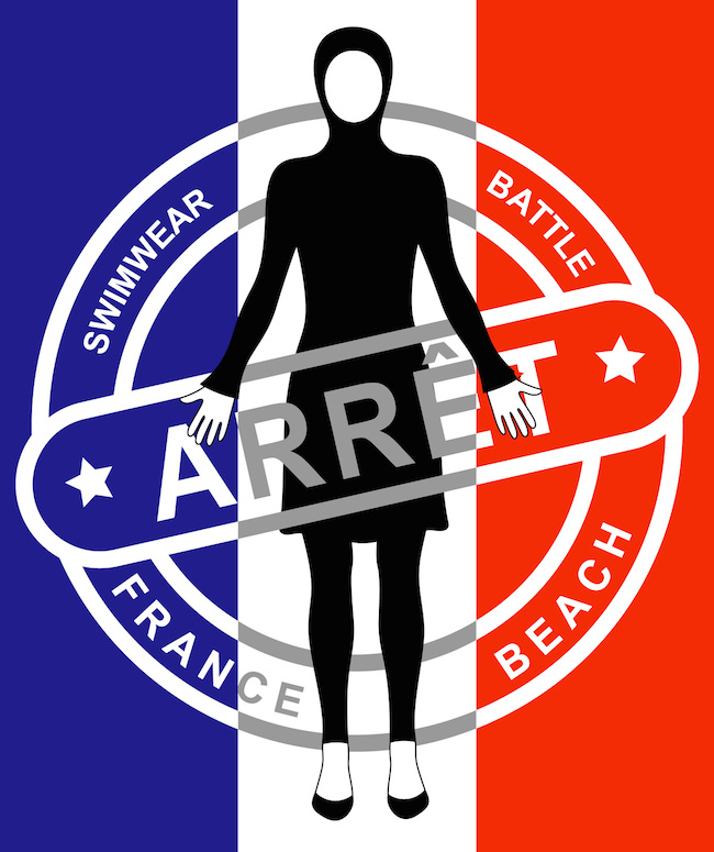 Sign of banned Islamic swimsuits burkini. Flag of France on background. Inscription Arret. In English stop.