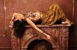 portrait of beauty sensual young woman in oriental style in luxury room