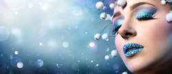 Christmas Makeup - Rhinestones On Lips And Snowy Eyelashes