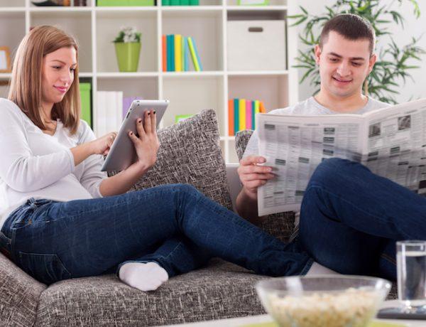 Family reading news