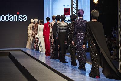 Muslim fashion Collection of Rasit Bagzibagli, Turkish designer in Dubai Modest Fashion Show. Photo by Mustafa Cetin