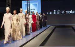 Muslim fashion Collection of Rasit Bagzibagli, Turkish designer in Dubai Modest Fashion Show. Photo by Mustafa Cetin