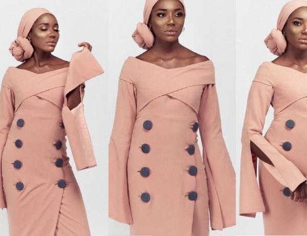 Dusty Pink Botton Dress designed by Fatima Gadido creative director for Amnas Closet, Nigerian modest fashion designer goltune news sara jamshidi