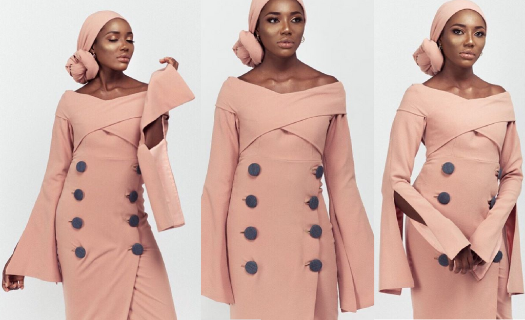 Dusty Pink Botton Dress designed by Fatima Gadido creative director for Amnas Closet, Nigerian modest fashion designer goltune news sara jamshidi